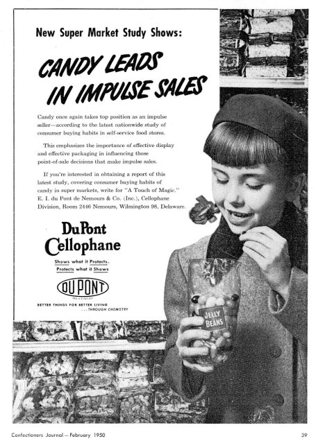dupont cellophane candy ad 1950